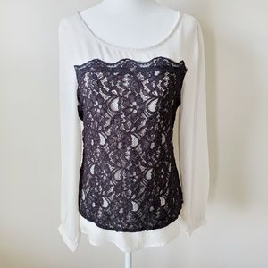 Maurices Cream Long Sleeve Black Lace Top Small
